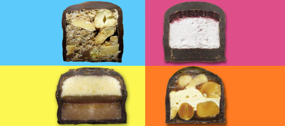 4 candy bars color on bold color backgrounds